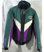 Vintage Mens Yamaha Venture Mens Snowmobile Jacket Medium Green White Pu... - $48.99
