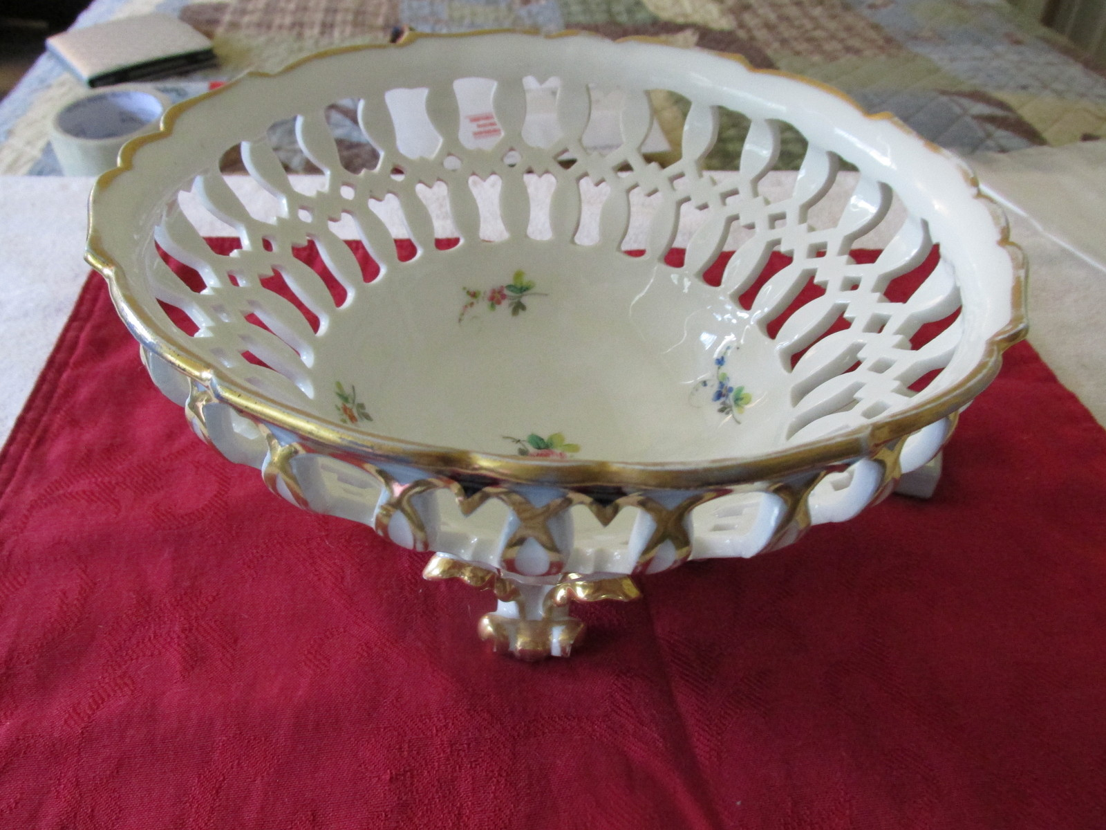 Decorative Cut - Out Floral Fruit  Footed Bowl