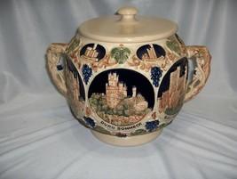 Vintage German Stoneware Relief Cookie Biscuit Jar & Lid Burg Castles  NICE - $143.55