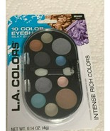 L.A. Colors 10 Color Eyeshadow Silky Smooth Intense Rich Colors-BES482 warm - $7.84
