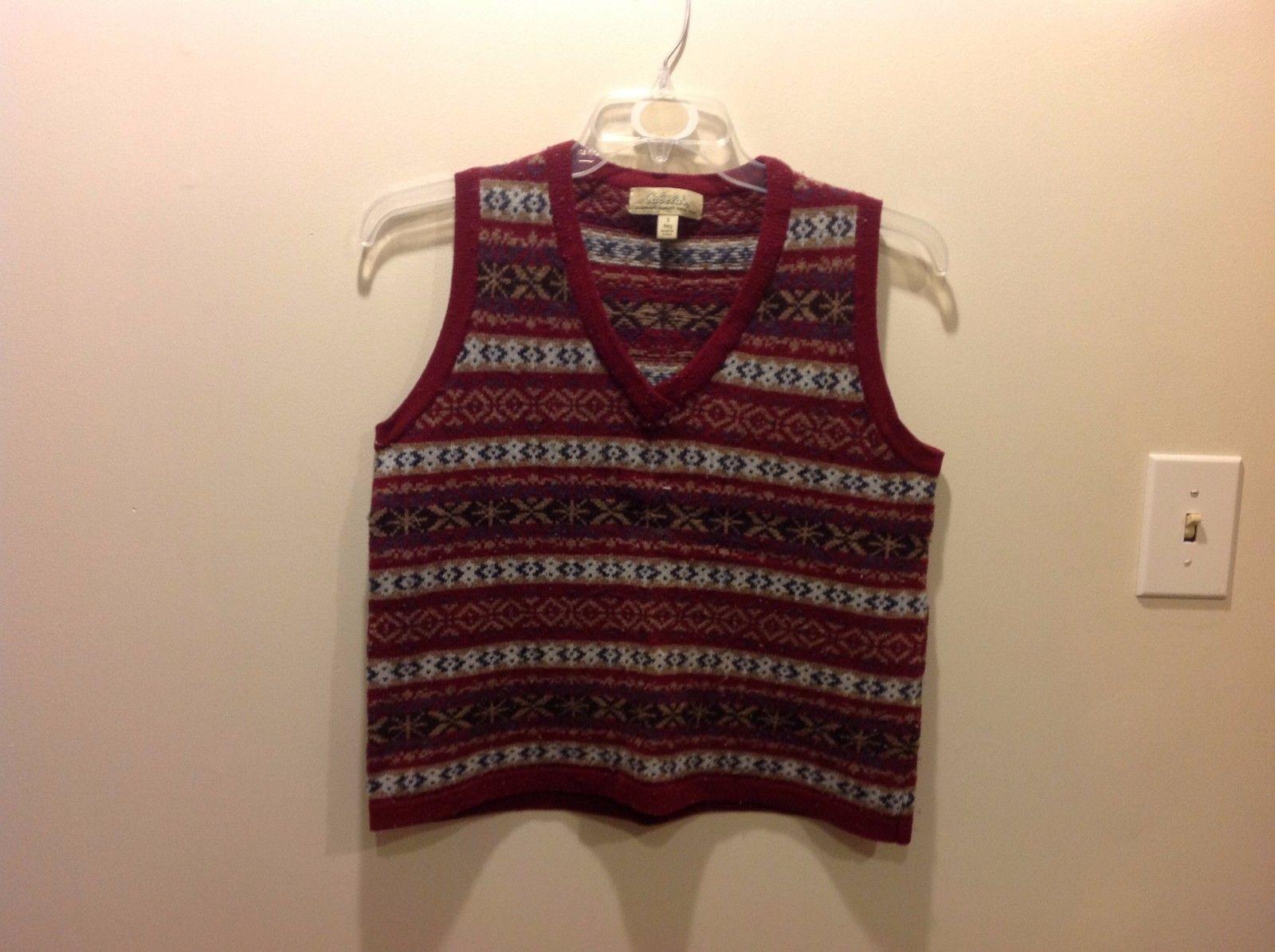 Ladies Cabela's Dark Red V Neck Lambswool Sweater Vest Sz S