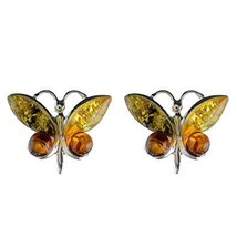 "Sterling Silver and Baltic Multicolored Amber Earrings""Butterfly"" image 1"