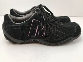 Merrell Womens US 6.5 Shoes Circuit Grid Comfort Black Suede Leather EU37 EUC image 3