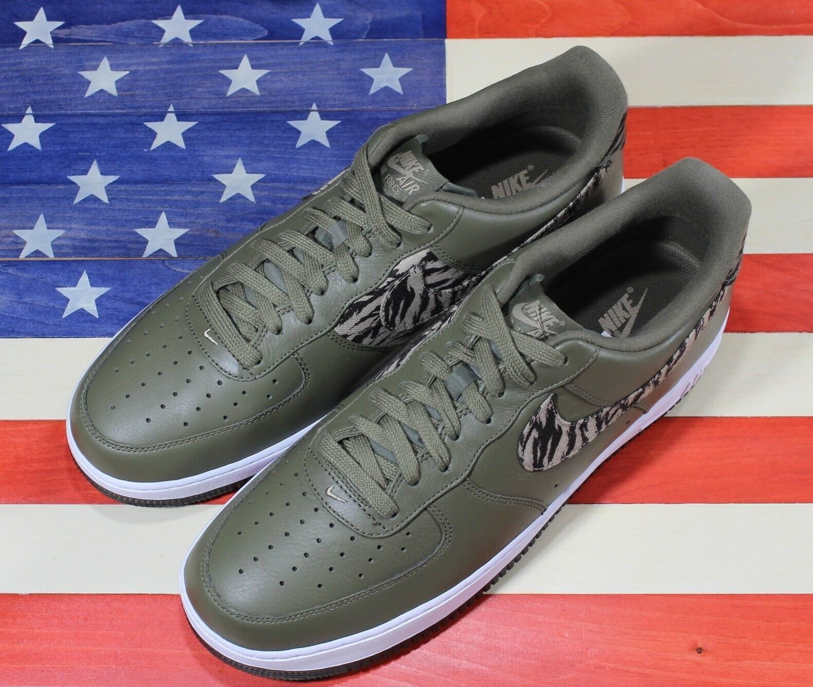 Nike Air Force 1 One Low AOP Basketball Shoes Olive-Green/White [AQ4131-200]- 13 image 10
