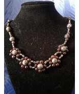 Handmade Labradorite and Burgundy Agate Beaded Necklace Z263 - $80.00