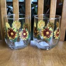 Royal Norfolk Sunflower Wine Glasses Iced Tea Drinking Set Of 2 NWT - $14.85