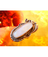 Haunted RING SACRED DRUM JOURNEY TRIBAL MAGICK 925 ALABASTER WITCH Cassia4  - $56.77