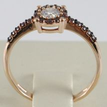 18K ROSE GOLD BAND RING, ETERNITY SOLITAIRE WITH ZIRCONIA, BROWN, MADE IN ITALY image 3