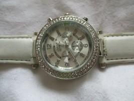 Geneva White & Silver Toned Wristwatch w/ Adjustable Buckle Band - $29.00