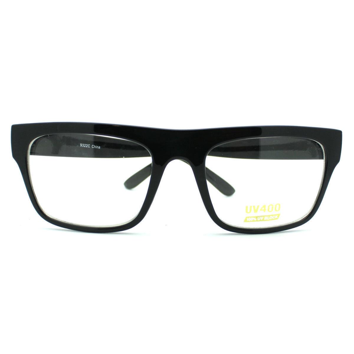 Unisex Rectangular Eyeglasses Classic Clear Optical Lens Frame BLACK