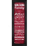 "Personalized Arkansas Razorbacks ""Family Cheer"" 24 x 8 Framed Print - $39.95"