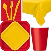 Disposable Party Supplies for 28 Guests - Ruby Red and Yellow - Square D... - $38.97
