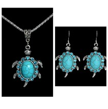Turquoise Turtle Necklace And Earrings 2 Piece Set, Antique Silver Vinta... - $7.69