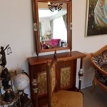 A True Piece Of Art Antique Console Mirror With Chair Brass And Porcelai... - $1,435.50