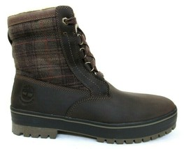 TIMBERLAND MEN'S DARK BROWN PLAID WATERPROOF INSULATED FAUX-FUR BOOTS #6... - $98.99