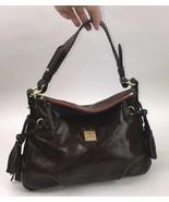 Dooney & Bourke Florentine Fold Flap Tassel Brown Leather Satchel Purse - $197.99