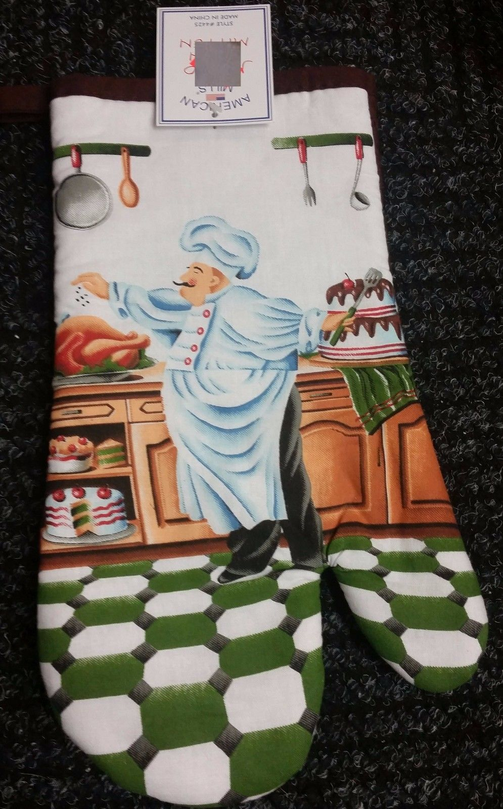 "Jumbo Printed Kitchen Oven Mitt (12""), FAT CHEF IN THE KITCHEN, w/brown back, AM"