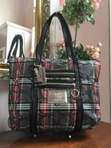 Coach Poppy Tartan Signature Glam Tote Shoulder Bag Red Black Plaid 1436... - $106.42