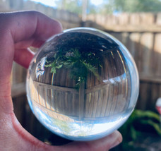 Clear Crystal Ball Sphere 10in with Wood Stand and Gift Box. Large & Heavy! - $28.04