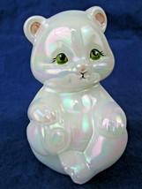 Fenton White Iridescent Sitting Bear Hand Painted Signed  - $34.65