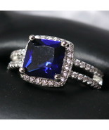 1.40Ct Princess Cut Blue Sapphire Halo Engagement Ring 14k White Gold Over  - $90.99