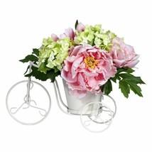 "Luxury Yellow Peony & Hydrangea Tricycle Faux Silk Flower Arrangement - 9.5"" - $66.24"