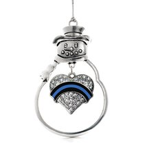 Inspired Silver Law Enforcement Support Pave Heart Snowman Holiday Chris... - $14.69