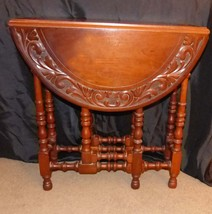 19th Century Gate Leg Table Carved Top - oval English drop leaf table - ... - $1,450.00