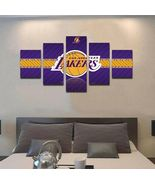 Los Angeles Lakers Wall Art Canvas Painting Poster 5 Piece Canvas Framed... - $74.99+