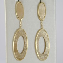 Yellow Gold Earrings 750 18k, Pendants, Double Oval striatum, Length 4 cm image 1