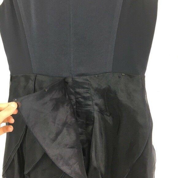 Halston Heritage Dress Size 10 Navy Blue Silk and Organza Cocktail Wedding