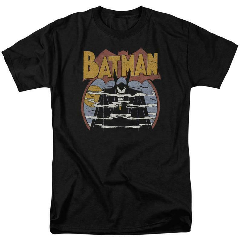 Batman t shirt 70s comic book art retro 80s cartoon dc black graphic tee dco645