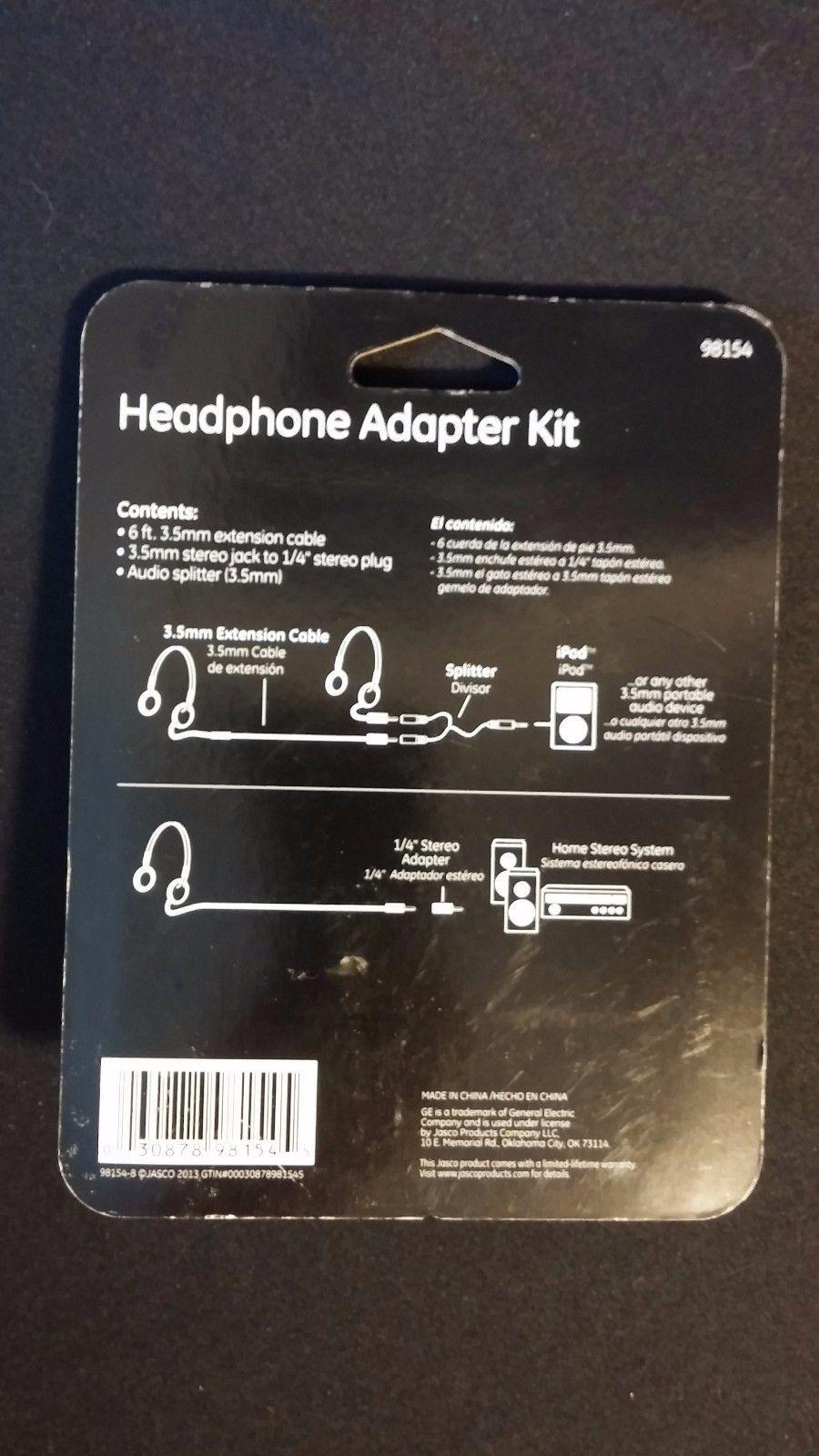 GE Headphone Adapter Kit [6ft Extender, 1/4\