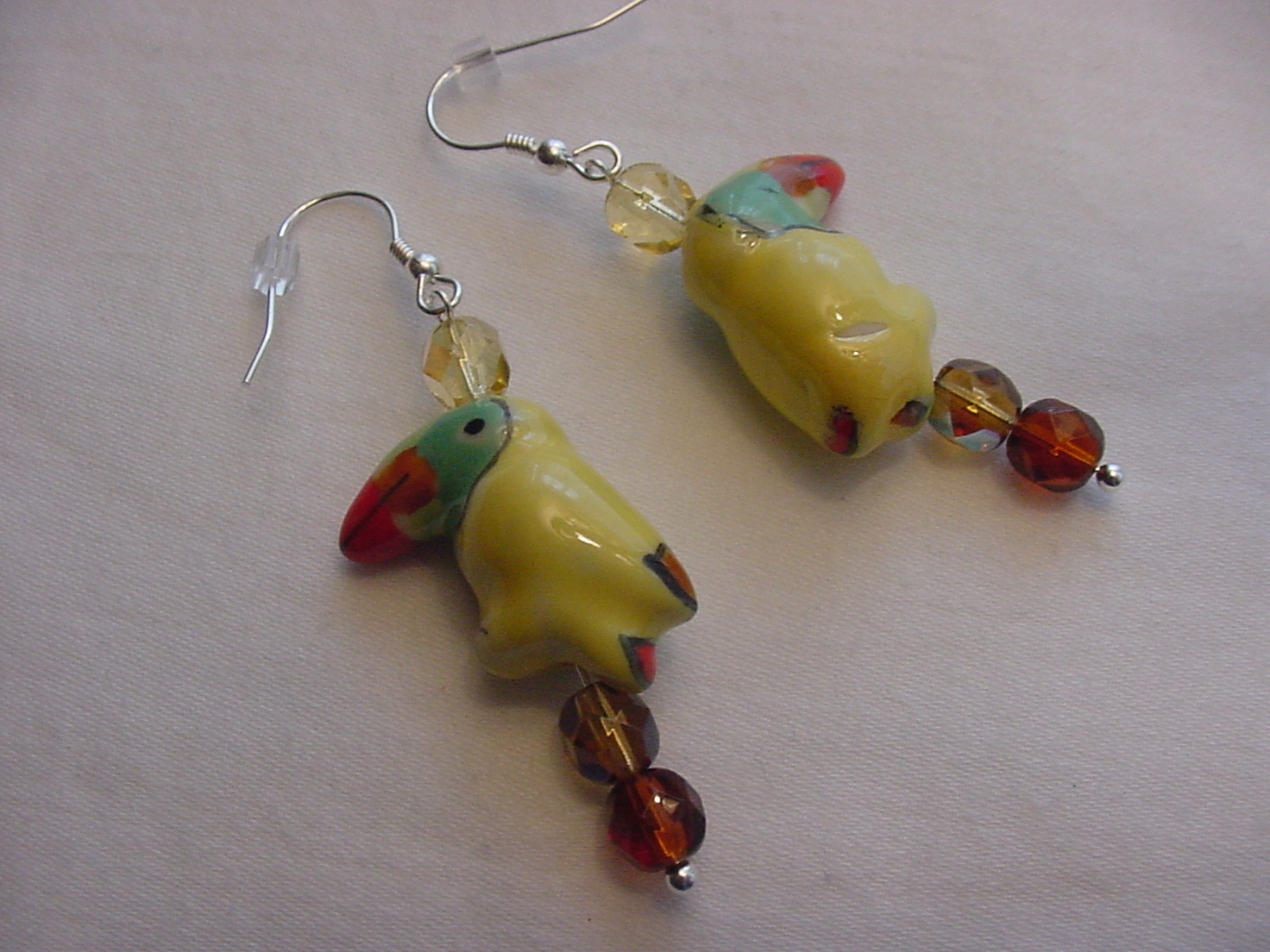Unique Creations/Ozarks Yellow Toucans Birds Parrots Drop Earrings