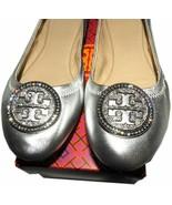 Tory Burch LIANA Crystals Logo Reva Ballerina Flats Ballet Shoes 10 Silver - $179.00