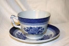 Spode Fitzhugh Blue Fine Stone Cup & Saucer #Y2988 - $11.08