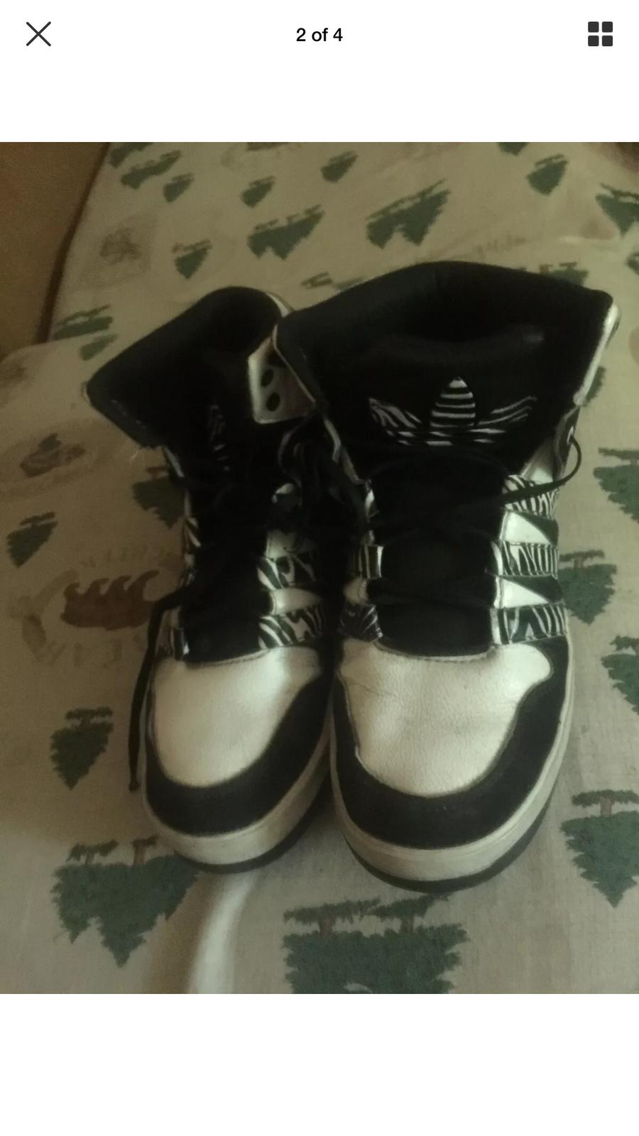 black and white zebra print pattern sneakers adidas 7.5 hightops high tops