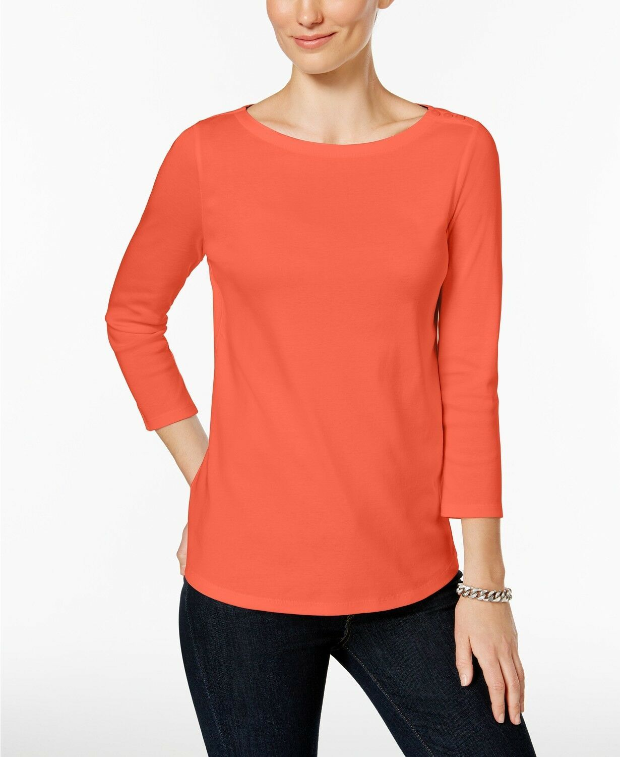 Primary image for Charter Club Women's Misty Pink Pima Cotton Button-Shoulder Top Size Petite