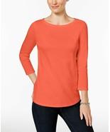 Charter Club Women's Petite Pima Cotton Button-Shoulder Top Misty Pink S... - $19.79