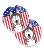 Bb2148Carc American Flag And Alaskan Malamute Set Of 2 Cup Holder Car Co... - $31.99