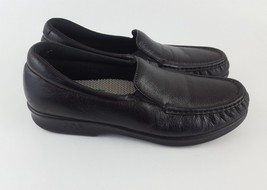 SAS Loafers Moc Toe Low Wedge Shoes Black Leather Womens 8S - $29.92