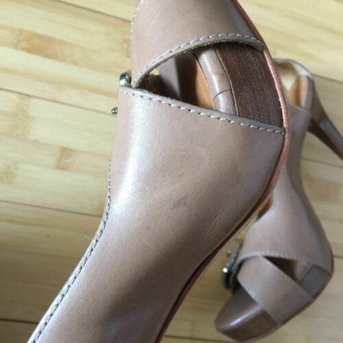 Michael Kors Heels Open Toe leather tan nude size 9.5 EUC image 4