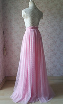 TAFFY PINK Full Tulle Skirt Bridesmaid Tulle Prom Skirt Dot High Waist US0-US28 image 4