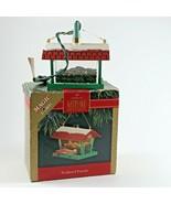 Hallmark keepsake ornament magic light feathered friends Bird feeder Dat... - $10.68