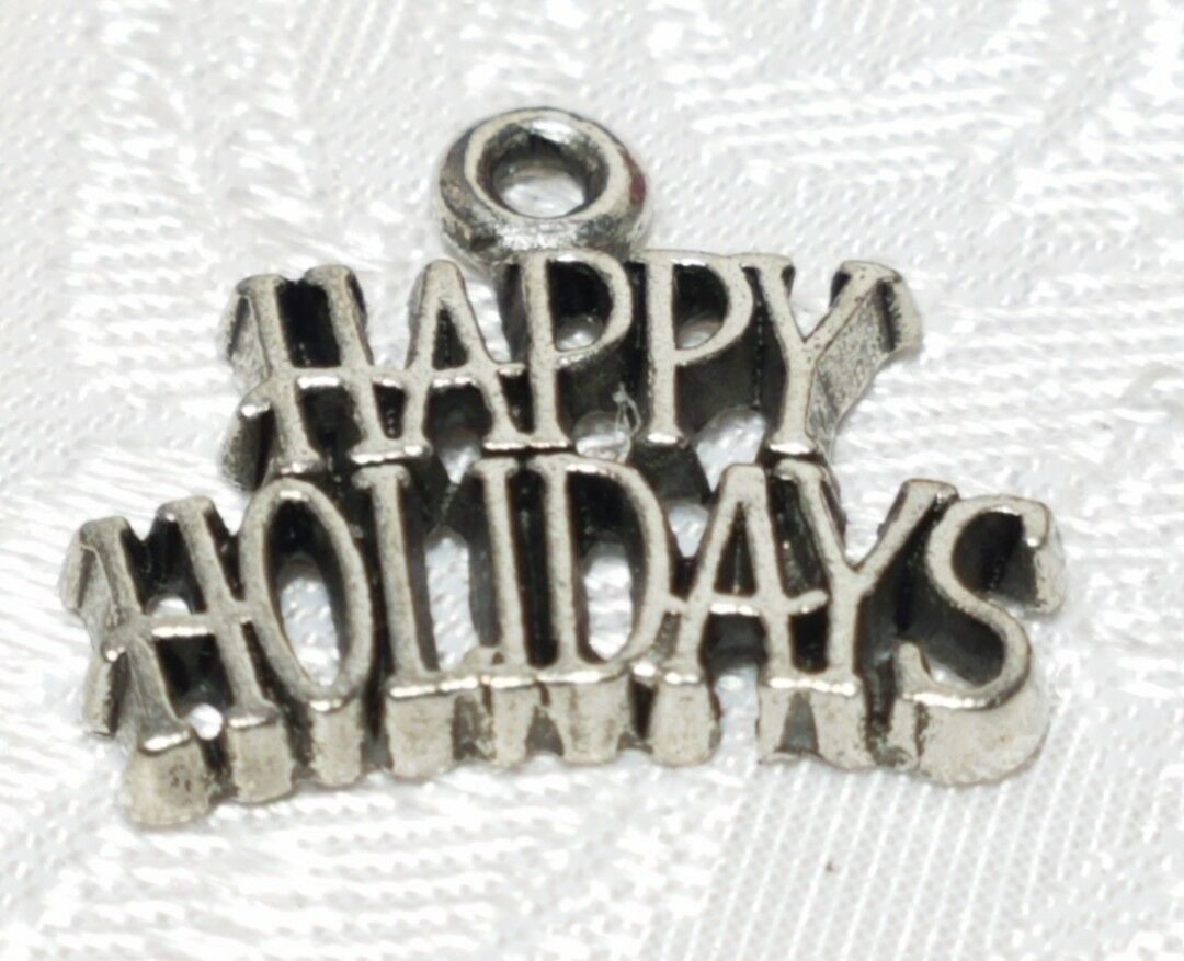 HAPPY HOLIDAYS FINE PEWTER PENDANT CHARM - 19.5x17x1.5mm