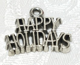 HAPPY HOLIDAYS FINE PEWTER PENDANT CHARM - 19.5x17x1.5mm image 1