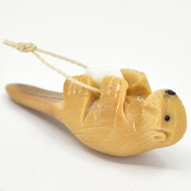 Hand Carved Tagua Nut Carving Otter Hanging Ornament Made in Ecuador image 2