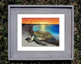 Sea Turtle on Beach S/N Limited edition print from original canvas wall art - $34.95