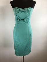 Betsey Johnson Women Sheath Dress 8 M Teal Blue Strapless Straps Bow Kne... - $128.69