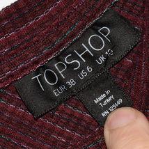 Topshop Women's Plum Purple Ribbed Crop V-Neck Sweater US 6   EUR 38   UK 10 image 3